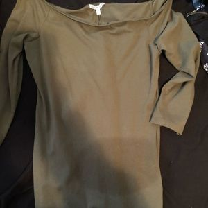 Army green off the shoulder body con dress